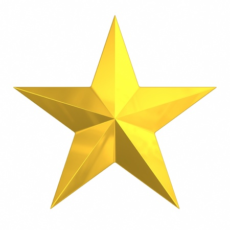 Brushed Gold Star isolated on white.