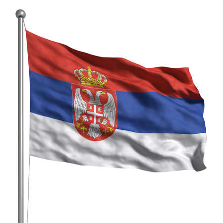 Flag of Serbia. Rendered with fabric texture Stock Photo - 9943027