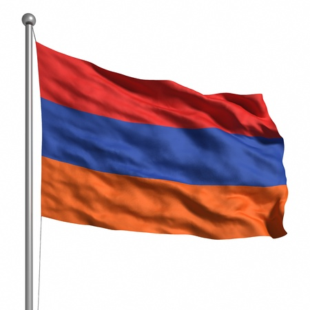 Flag of Armenia. Rendered with fabric texture  photo