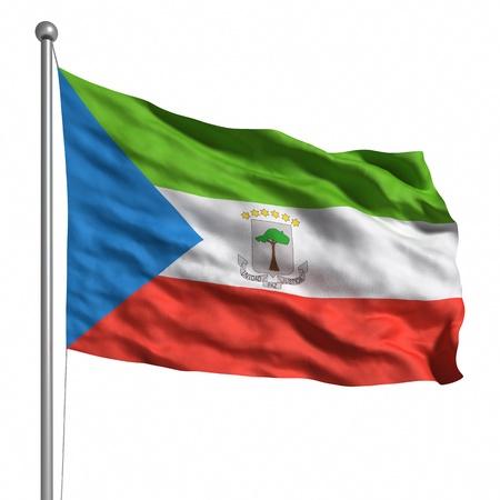 Bandera de Guinea Ecuatorial. Prestados con textura de tela