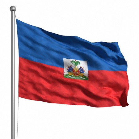 haitian: Flag of the Haiti. Rendered with fabric texture