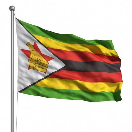zimbabwe: Flag of Zimbabwe. Rendered with fabric texture