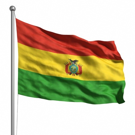 Flag of Bolivia. Rendered with fabric texture   Stock Photo