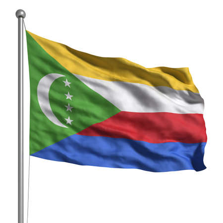 comores: Flag of Comoros. Rendered with fabric texture Stock Photo