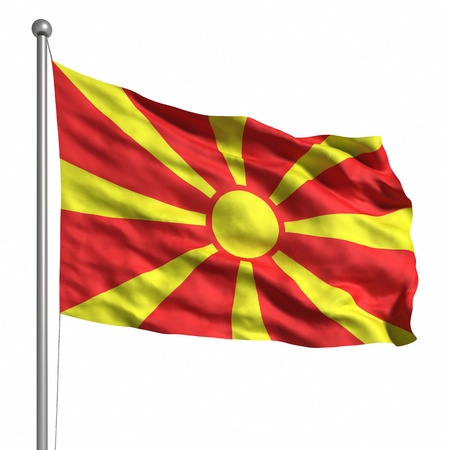 macedonia: Flag of Macedonia. Rendered with fabric texture