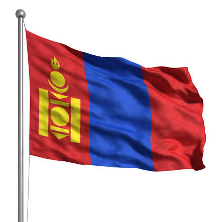 Flag of Mongolia. Rendered with fabric texture photo