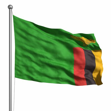 zambian: Flag of Zambia. Rendered with fabric texture Stock Photo