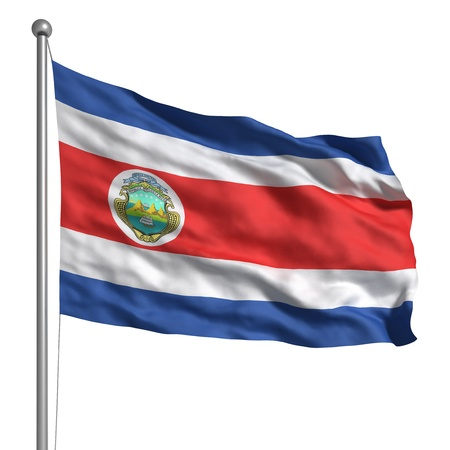 poles: Flag of Costa Rica (Isolated) Stock Photo