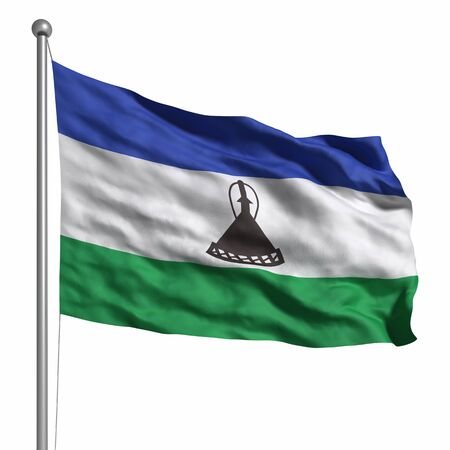 LESOTHO: Flag of Lesotho. Rendered with fabric texture
