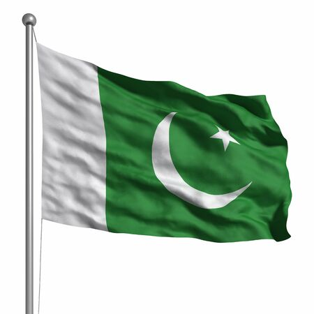 Flag of Pakistan. Rendered with fabric texture