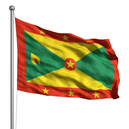 Flag of Grenada. Rendered with fabric texture   photo