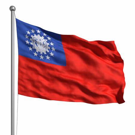 birma: Flag of Myanmar (Burma). Rendered with fabric texture