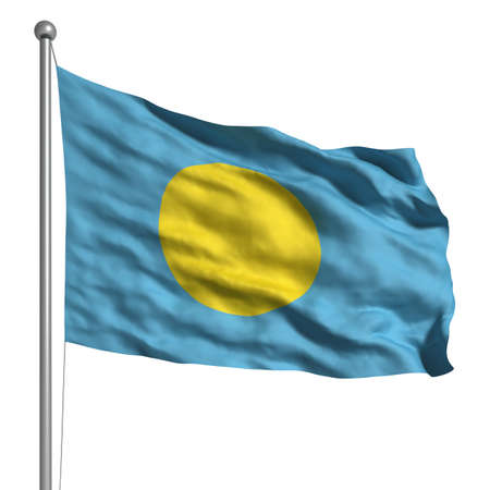 Flag of Palau. Rendered with fabric texture   photo