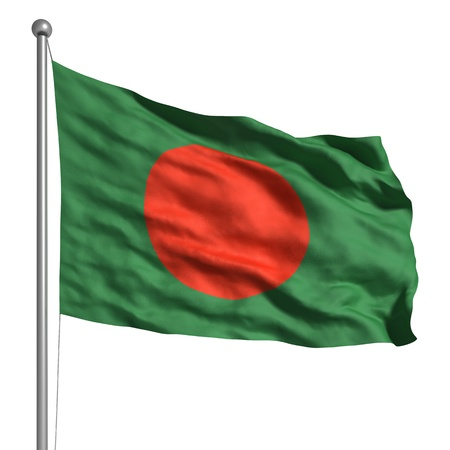 Flag of Bangladesh. Rendered with fabric texture