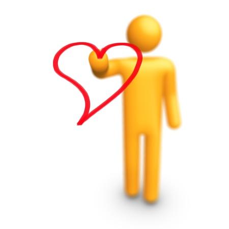 Stick Figure Drawing Heart Stock Photo - 9943119