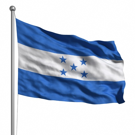 Flag of Honduras. Rendered with fabric texture  photo