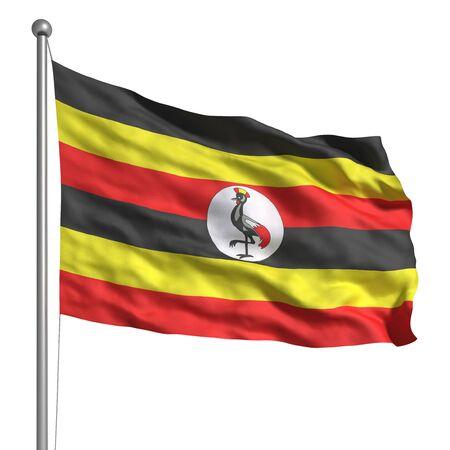 Uganda: Flag of Uganda (Isolated) Stock Photo