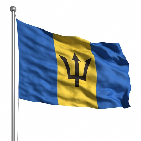 barbadian: Flag of Barbados. Rendered with fabric texture