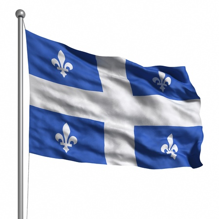 Flag of Quebec. Rendered with fabric texture