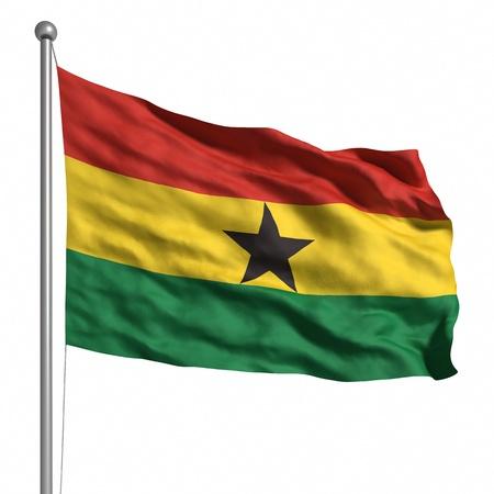 ghana: Flag of Ghana. Rendered with fabric texture