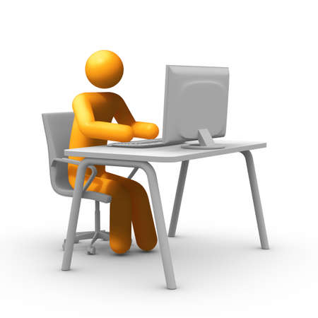 front desk: Sitting at a desk in front of a computer screen. Stock Photo