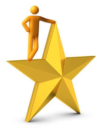 Standing on golden star. photo
