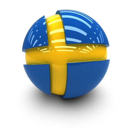 the swedish flag: 3D  - Flag of Sweden