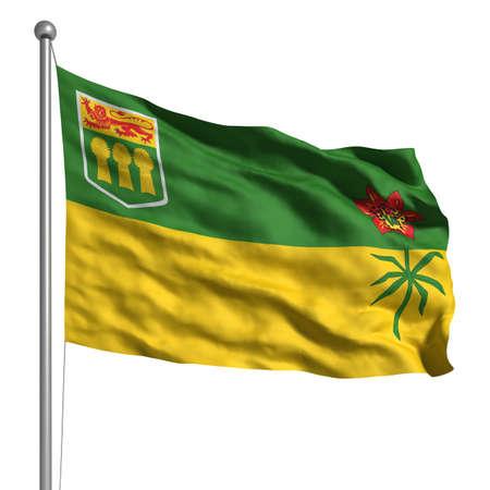 Flag of Saskatchewan. Rendered with fabric texture  photo