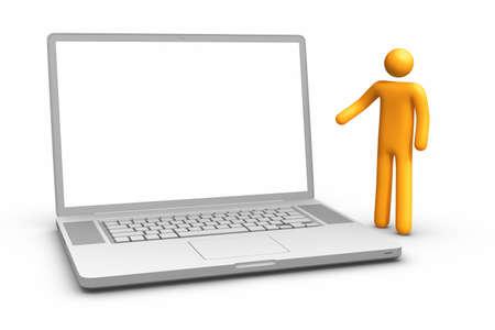 bonhomme allumette: Affichage ordinateur portable.