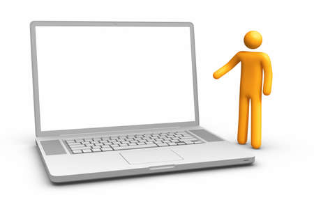 Showing laptop. Stock Photo - 9942390