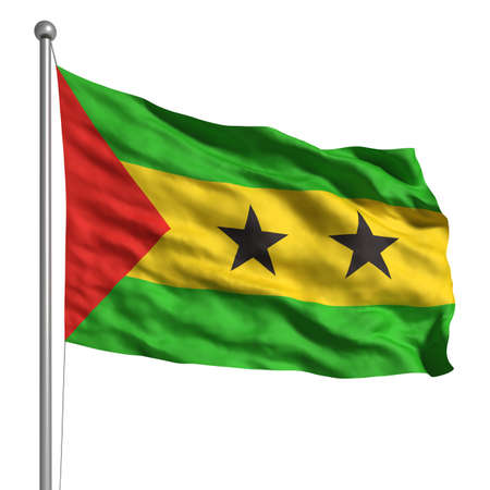 principe: Flag of Sao Tome and Principe. Rendered with fabric texture