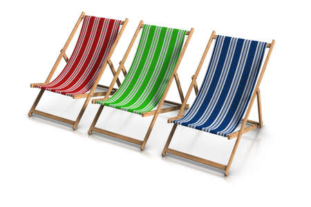 3d rendered RGB deck chairs, Stock Photo - 9942311