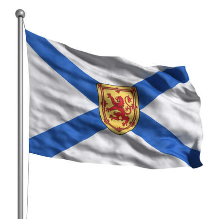 Flag of Nova Scotia. Rendered with fabric texture  photo