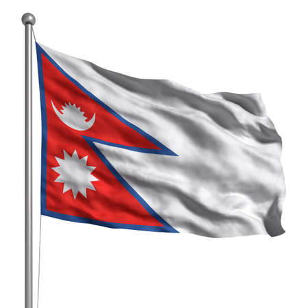 nepal: Flag of Nepal. Rendered with fabric texture (visible at 100%). Clipping path included. (Rectangle clipping path also included) Stock Photo
