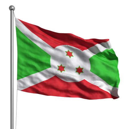 burundi: Flag of Burundi. Rendered with fabric texture (visible at 100%). Clipping path included.