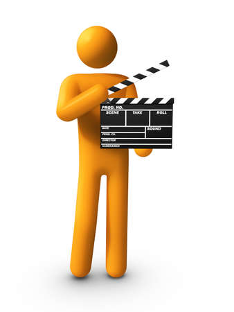 film industry: Holding Clapper. Stock Photo