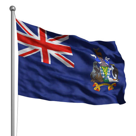 Flag of South Sandwich Islands. Rendered with fabric texture (visible at 100%). Clipping path included.Other British Overseas Territories: photo