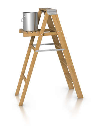 paint can: 3d Step ladder and paint bucket Stock Photo