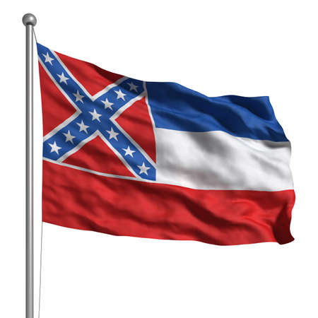 Flag of Mississippi. Rendered with fabric texture (visible at 100%).  Clipping path included. photo