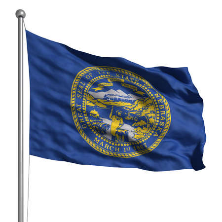 nebraska: Flag of Nebraska. Rendered with fabric texture (visible at 100%).  Clipping path included.
