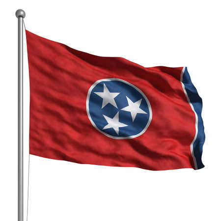 tennesse: Bandera de Tennessee. Dictada con textura de tela (visible al 100%). Trazado de recorte incluido.