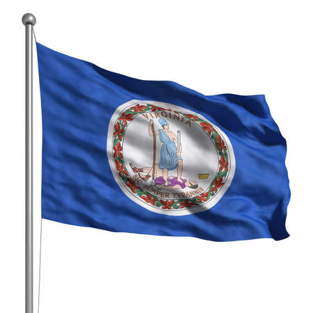 virginia: Flag of Virginia. Rendered with fabric texture (visible at 100%). Clipping path included. Stock Photo