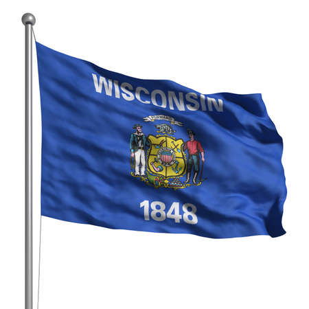 wisconsin flag: Flag of Wisconsin. Rendered with fabric texture (visible at 100%). Clipping path included.