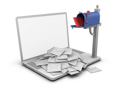 Laptop - Mailbox. Stock Photo
