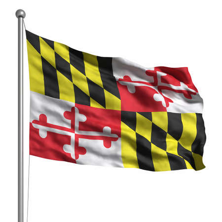 maryland flag: Flag of Maryland. Rendered with fabric texture (visible at 100%). Clipping path included. Stock Photo
