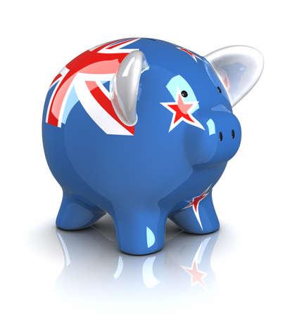 bandera de nueva zelanda: Piggy Bank - Nueva Zelanda (aislado)