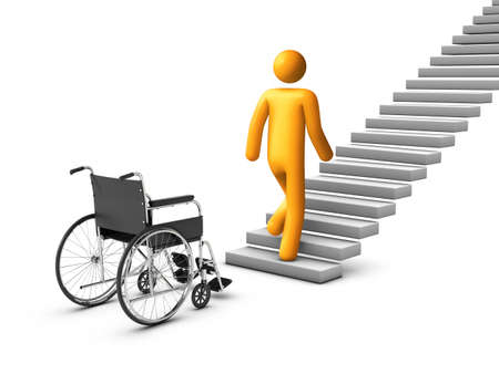 physical therapy: wheelchair Concept. Stock Photo