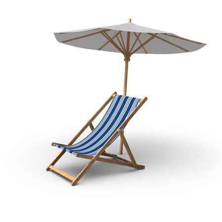 3D-gerenderten Stuhl und Regenschirm auf weißem Hintergrund.