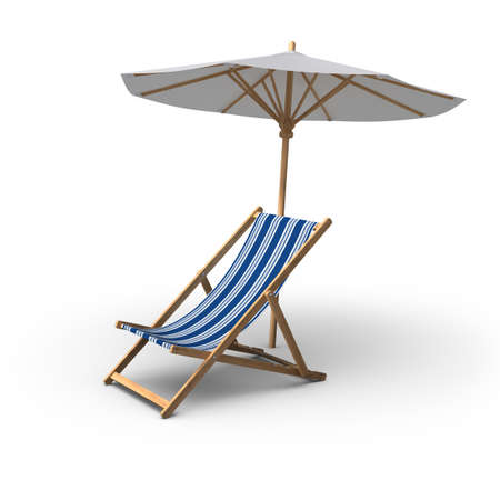 3D rendered chair and Umbrella on white background.