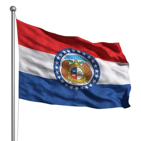 Flagge von Missouri. Übertragen mit Gewebestruktur (sichtbar bei 100%). Clipping-Pfad enthalten.